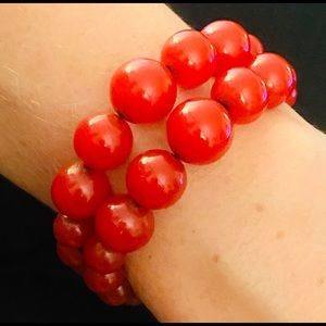 Vintage Art Deco Cherry Red Bakelite Bead Bracelet